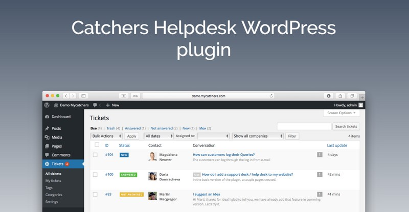 Catchers Helpdesk WordPress Plugin: Catch Your Client's Dreams