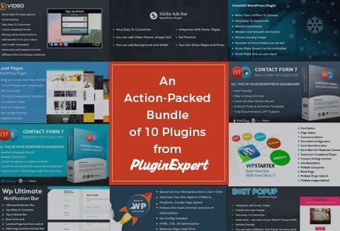 Grab this action-packed WordPress plugin bundle containing 10 plugins from PluginExpert.