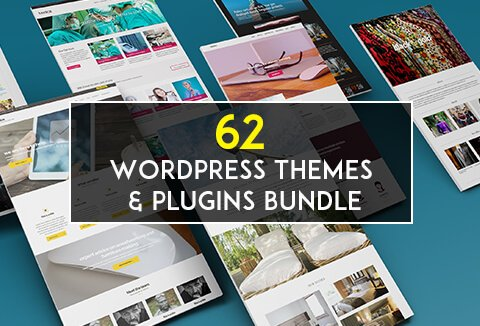 Grab this powerful bundle containing 62 WordPress responsive themes and feature-rich plugins.