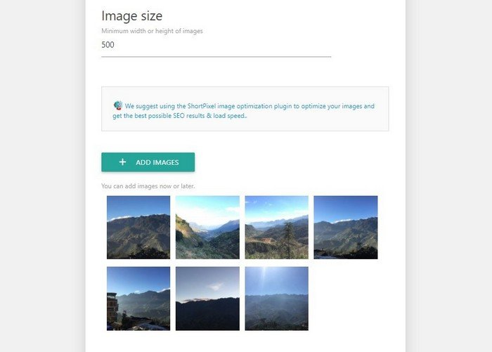 Specify a minimum width or height for images.