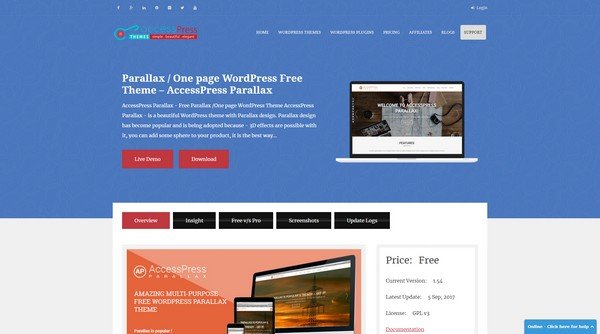 Free WordPress Themes 2018 - AccessPress Parallax from AccessPress Themes