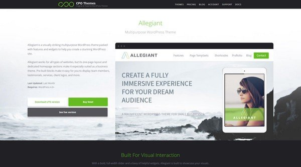 Allegiant is an interactive free WordPress theme from CPOThemes.