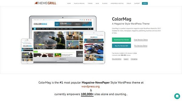 ColorMag is a cleaner and advanced free WordPress theme from ThemeGrill.
