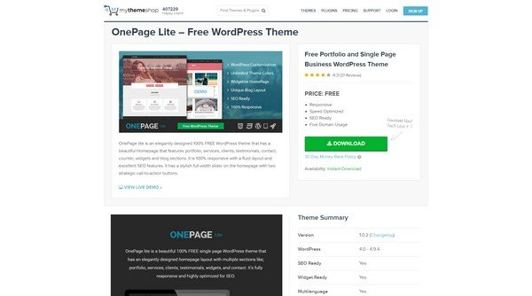 OnePage Lite from MyThemeShop.