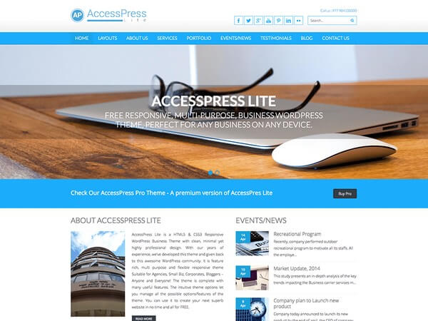 Free Responsive Themes - AccessPress Lite is a very powerful and free responsive theme.