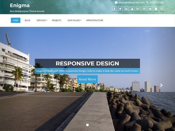 Enigma is a theme is fit for professionals, business, portfolio, and blogging from Weblizar.
