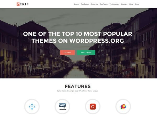 Zerif Lite WordPress theme is compact and ideal for business, corporate, personal, portfolio, agency etc from Themeisle.