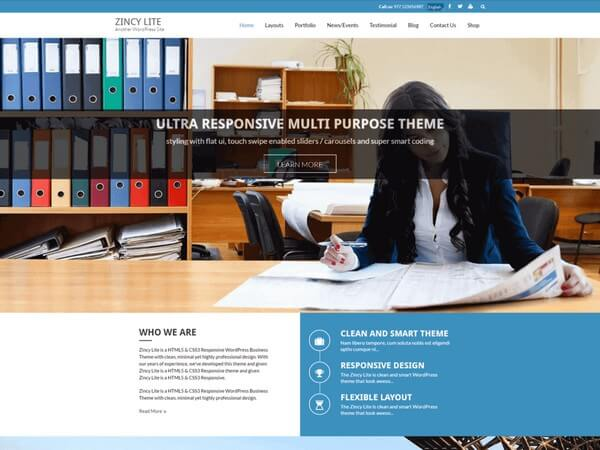 Zincy Lite is a free awesome and responsive WordPress theme from 8Degree Themes.