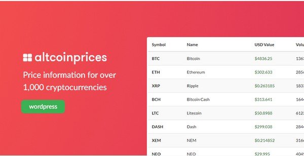 With Altcoin Prices your get insight into 1000+ Cryptocurrency prices.