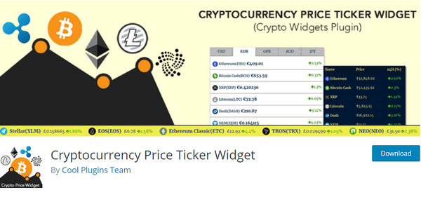 Cryptocurrency WordPress Plugins - Cryptocurrency Prices doesn't require API, registration and there are no hidden fees.