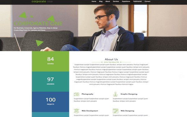 One theme is all you would need to get your one-page website designed.