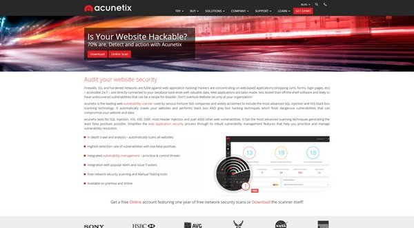 Acunetix is a website security scanner.