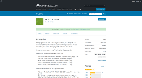 Exploit Scanner WordPress plugin checks for vulnerabilities.