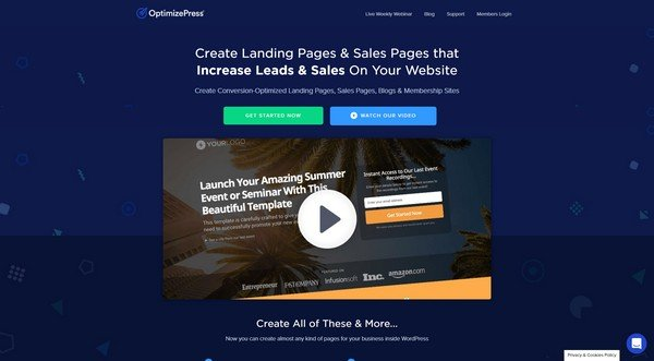 OptimizePress comes with tons of landing page templates.