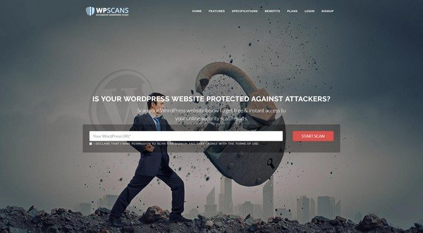 WPScans scanner checks for all kinds of security vulnerabilities.