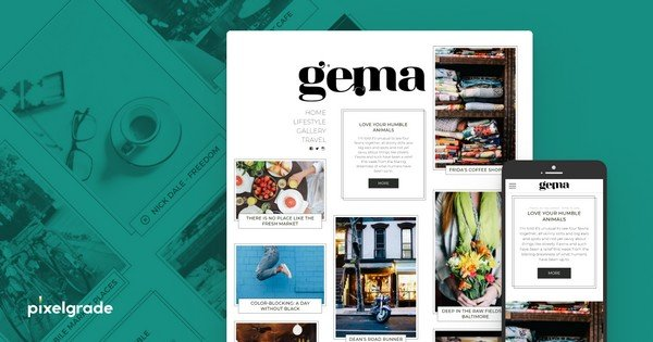 Gema is a personal blog WordPress theme from Pixelgrade.