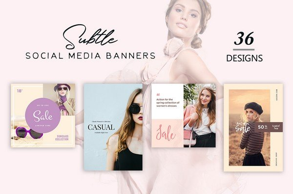 Subtle Social Media Banners includes 36 different banners.