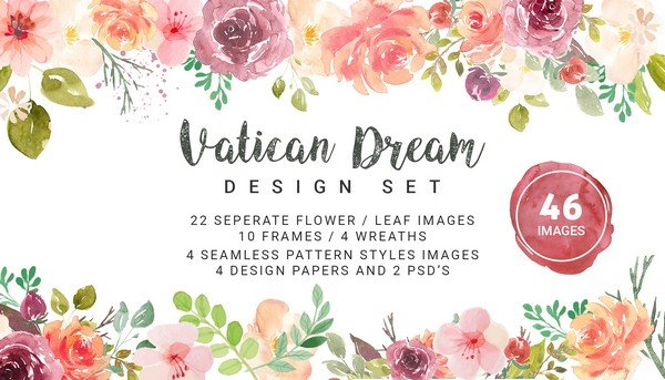 Vatican Dream comes with 22 beautiful flower and leaf images.