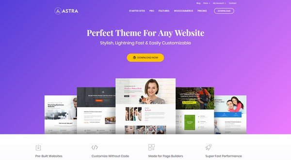 Astra is a free theme, created by Brainstorm Force.