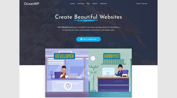 OceanWP is a free and responsive WordPress theme.