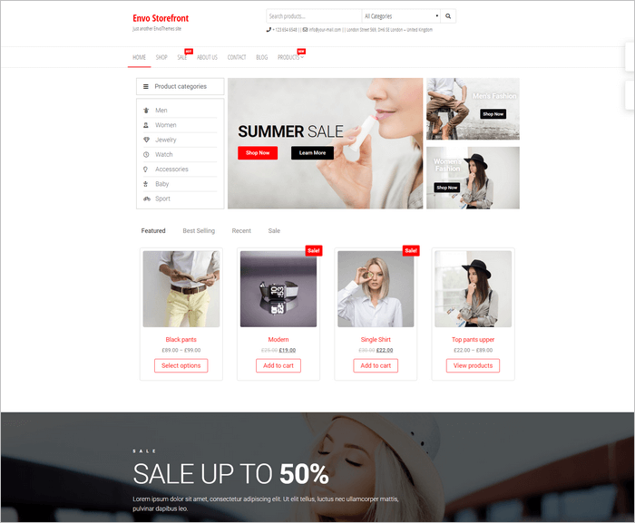 Envo Storefront is a free and fast WooCommerce WordPress theme from EnvoThemes.
