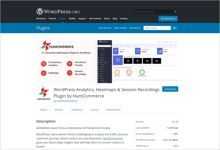 HumCommerce is a WordPress analytics, heatmaps and session recordings plugin.