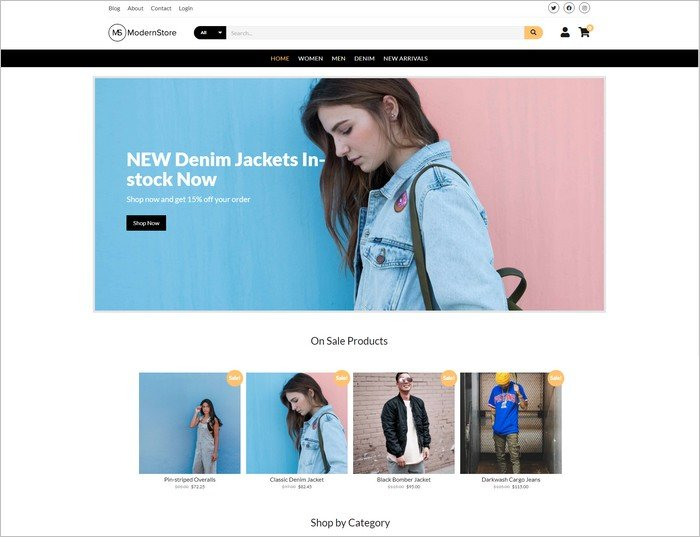 Modern Store is a free eCommerce WordPress from Compete Themes.