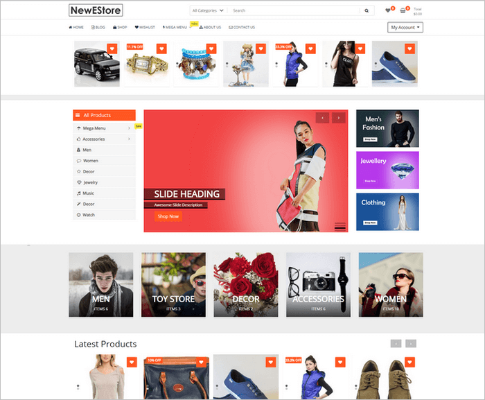 NewStore is a free and modern Woocommerce WordPress theme from ThemeFarmer.