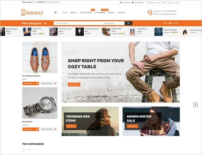 Shopay is a free WooCommerce WP theme from Mystery Themes.