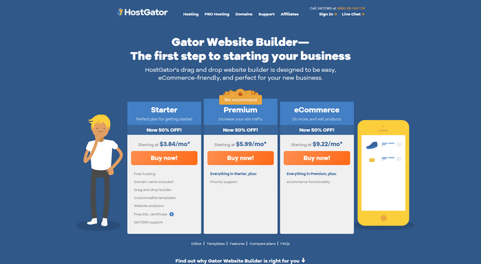 The website builder Gator is equipped with full hosting capabilities