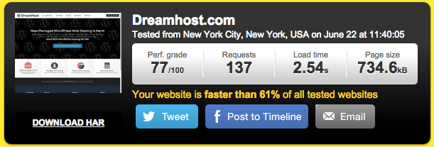 DreamHost site speed