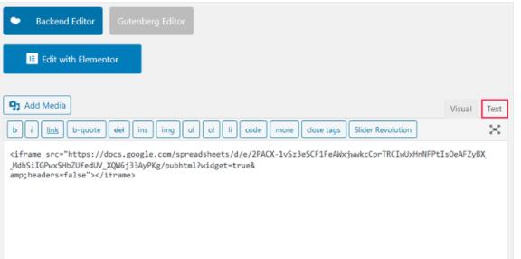 Google Sheets custom HTML block