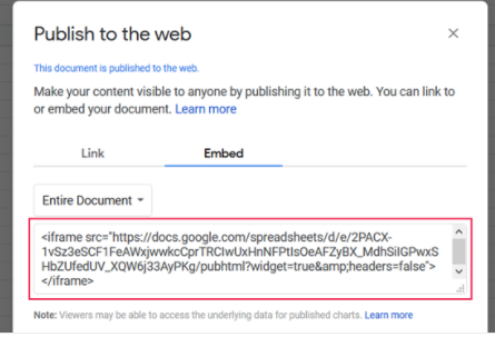 Google Sheets embed code