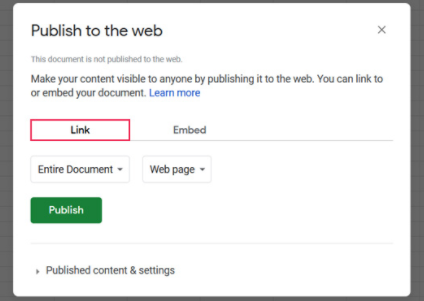 Google Sheets publish to the web link option