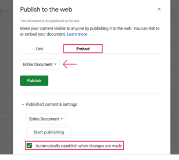 Google Sheets publish to the web popup