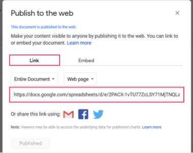Google Sheets sharable link