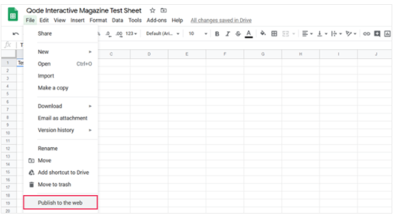 Google Sheets test sheet