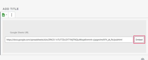 Google Sheets URL input tab