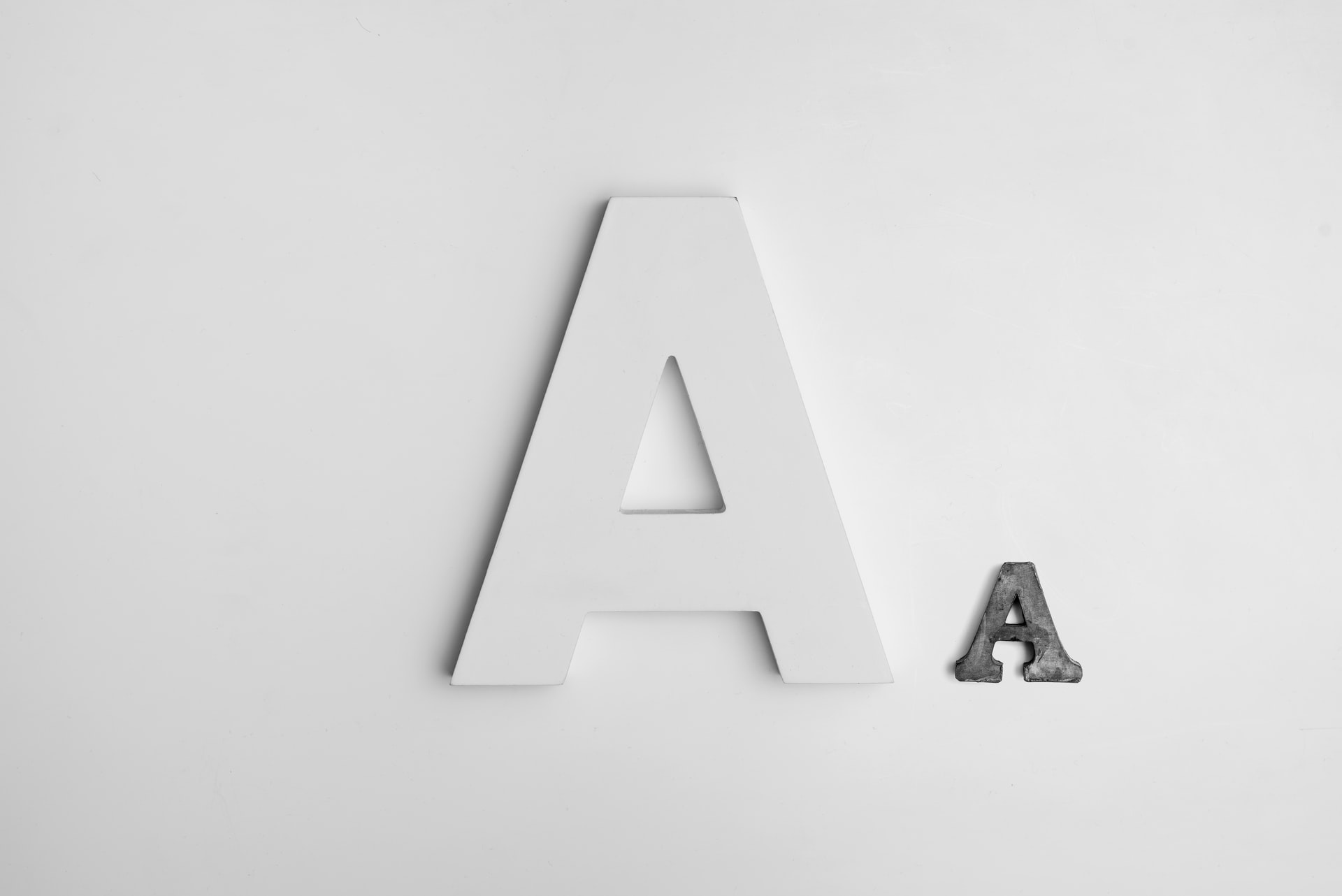 Letter A in two fonts