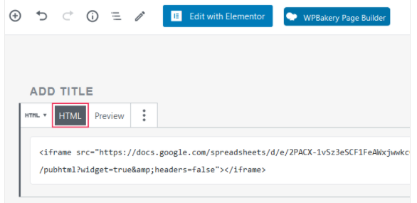 WordPress HTML option