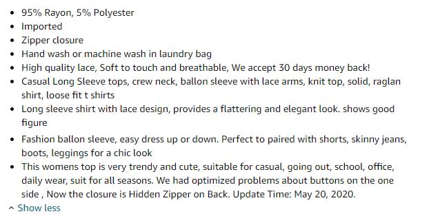 Amazon product description