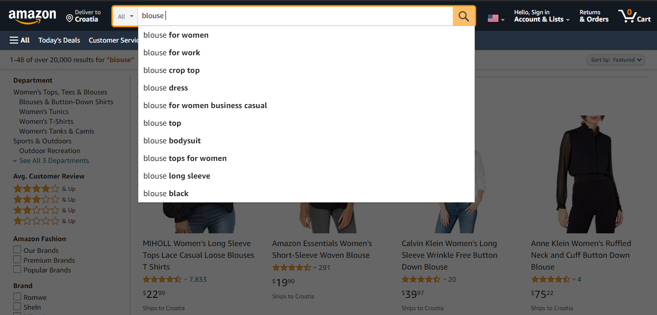 Search bar on Amazon