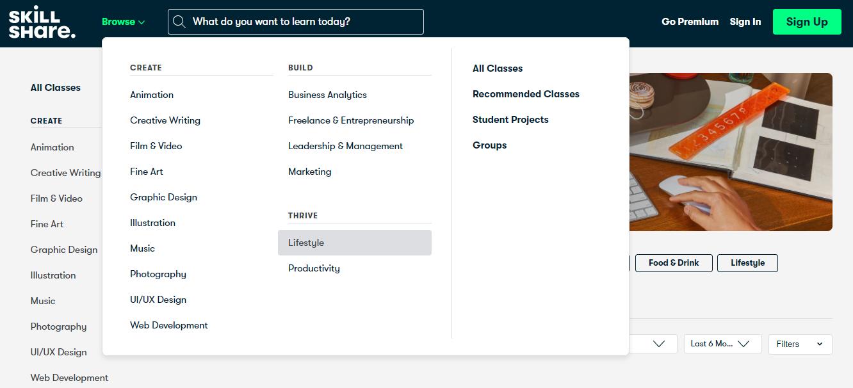 Skillshare browse option