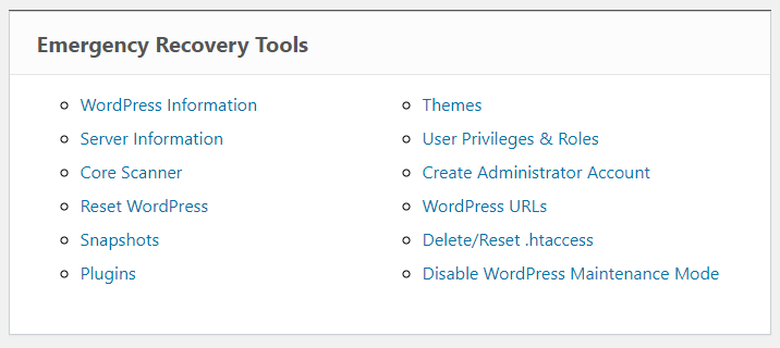 Emergency Recovery Script tools
