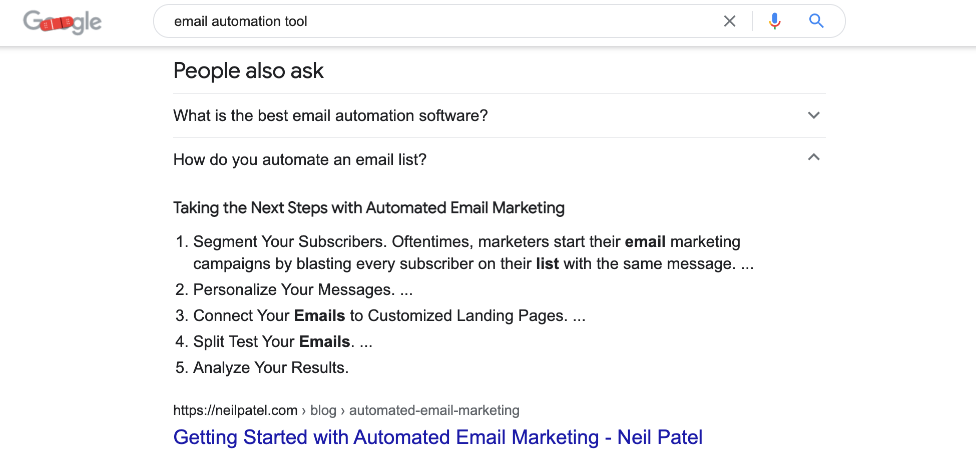 Email automation tool Google search