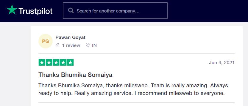 MilesWeb Trustpilot reviews