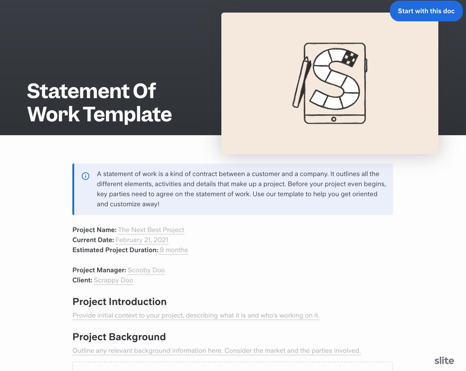 Slite statement of work template