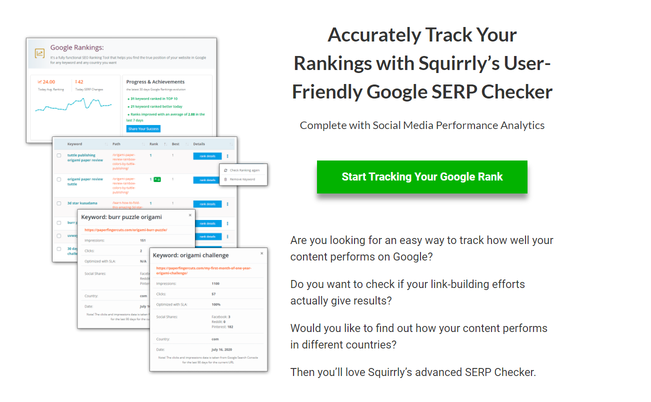 Squirrly SEO Rank Tracking feature