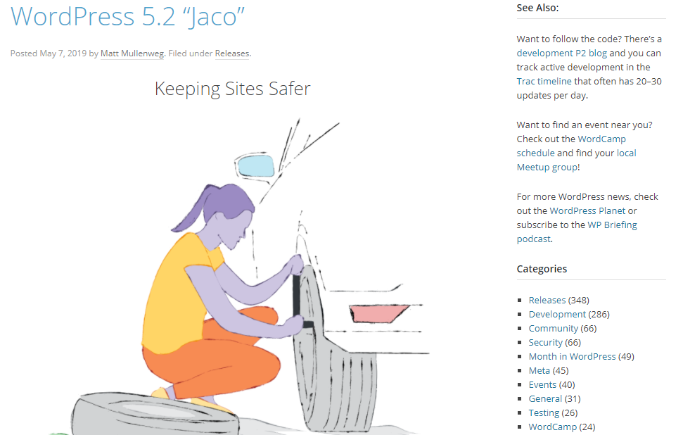 Jaco Pastorius version 5.2 of WordPress
