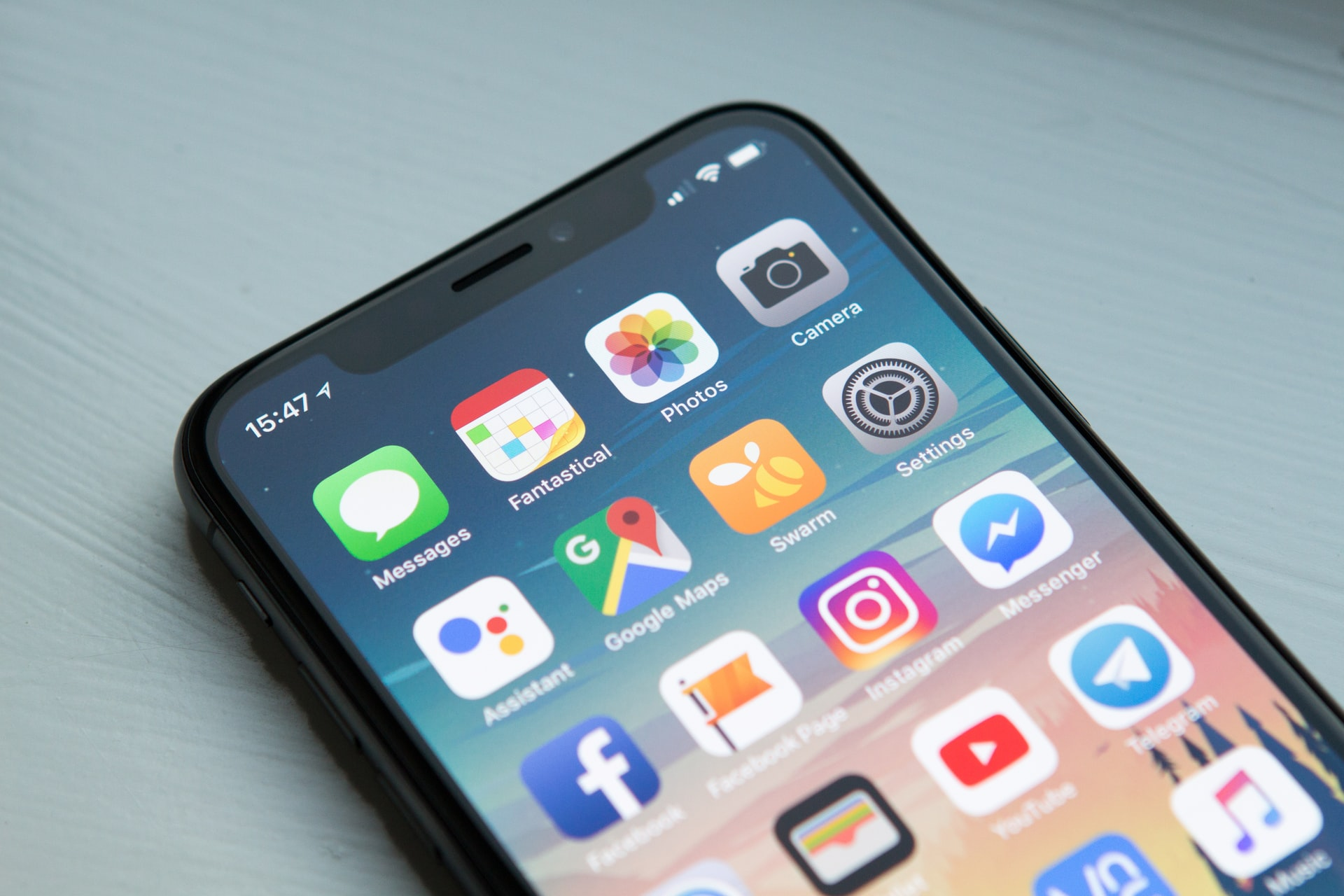Mobile phone social media icons